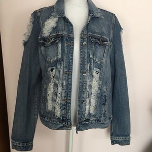 New Forever 21 Distressed Jean Jacket